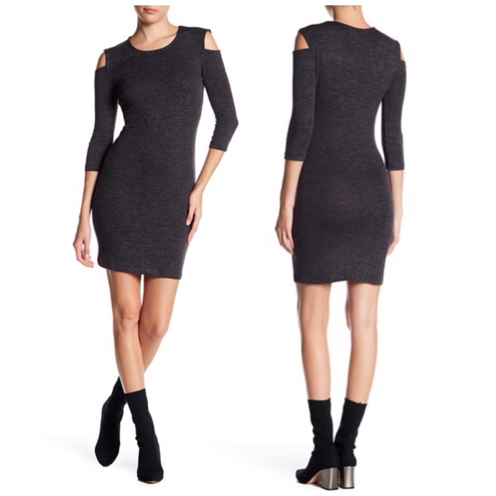 New French Connection Sweater Cold Shoulder Dress (Size L)