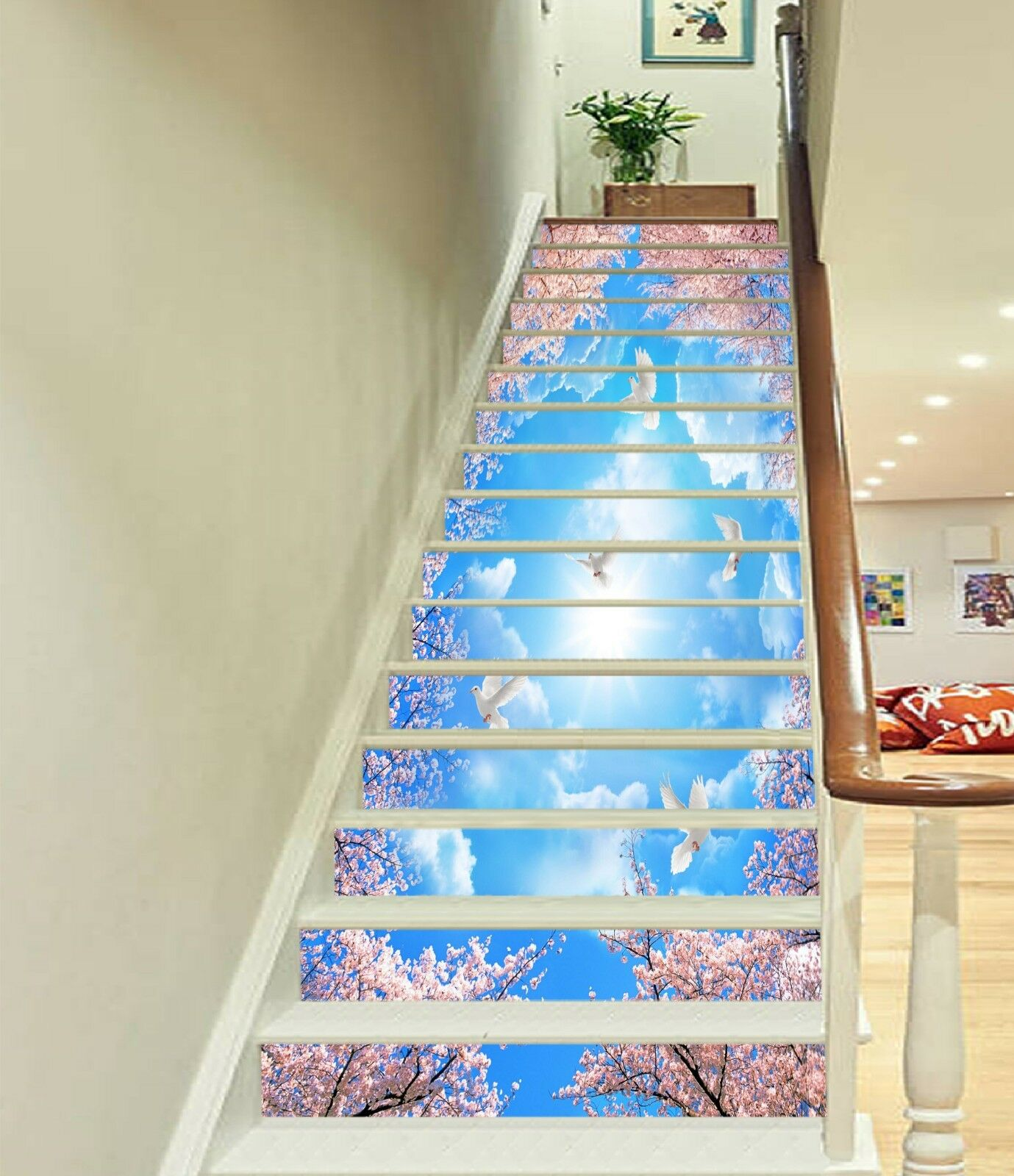 3D Squid Dove Sky Stair Risers Decoration Photo Mural Vinyl Decal Wallpaper CA