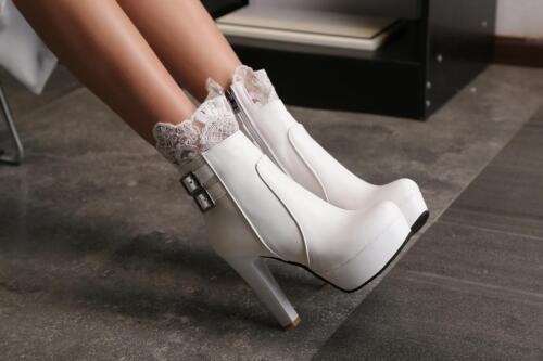 Details about  /Womens Buckle High Block Heel Ankle Boots Lace Platform Side Zip Punk Shoes Plus