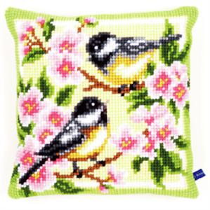Pájaros y flores grandes agujeros Tapiz Cojín De Lona Impresa Kit-Punto De Cruz
