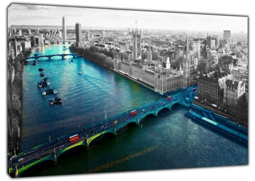 LONDON  RIVER THAMES SKY VIEW  PRINT ON FRAMED CANVAS WALL ART HOME DECORATION