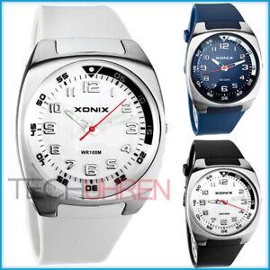 Schicke-analoge-unisex-XONIX-Armbanduhr-mit-grossem-Ziffernblatt-WR100m-nickel