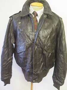 b9d042371 Details about Vintage Genuine Schott NYC Leather A2 Flight Bomber Jacket  46