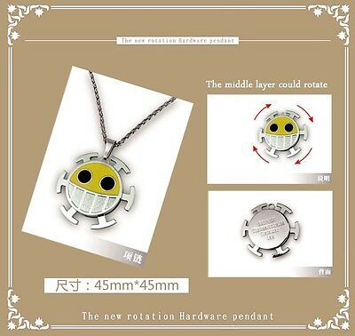 3-layer rotation metal pendant/necklace for One piece Trafalgar Law laughing sun