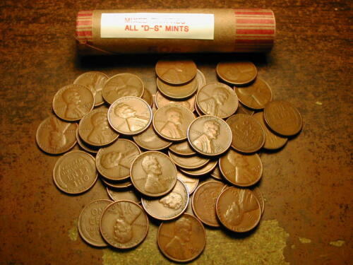 """LINCOLN WHEAT CENT PENNY ROLL MIXED THIRTIES ALL /""""D/&S/"""" MINTS!!"""