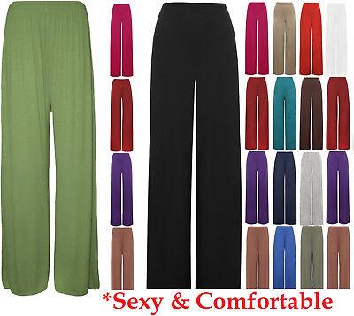 Womens Palazzo Wide Leg Trousers Ladies Plain Flared Legging Pant Plus Size 8-26