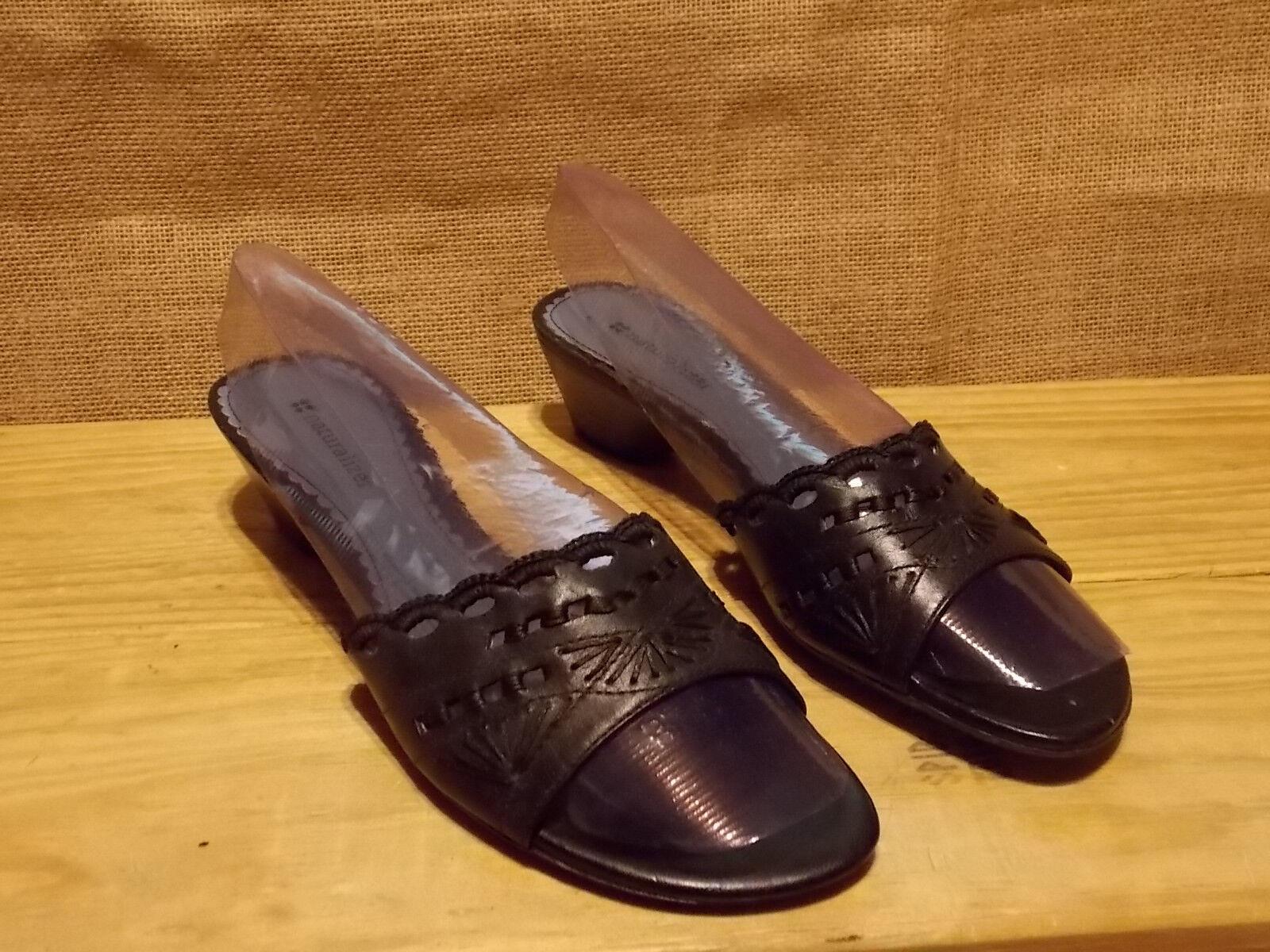 Naturalizer Black Melinda Black Naturalizer Sandals Leather Slip On Low Heel Shoes Size 8 1/2 M 242360