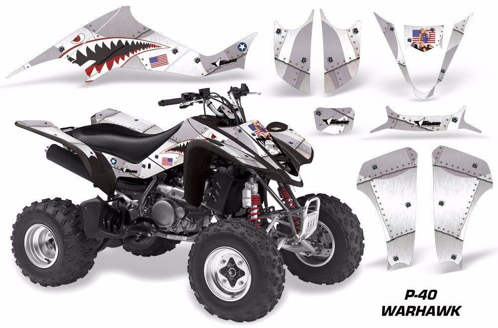Atv Grafik Set für Suzuki Ltz400 Kawasaki Kfx400 03-08 Warhawk Weiß
