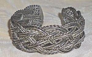 Cuff-Bracelet-Braided-Antiqued-Silver-Metal