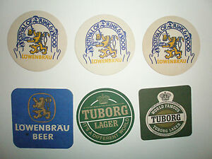 SIX-MATS-FROM-THE-1970-039-S-80S-LOWENBRAU-AND-TUBORG-LAGERS