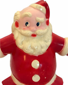 RARE-SANTA-WALL-HANGING-Light-1940s-Hard-Plastic-Blow-Mold-Tin-Back-AS-IS