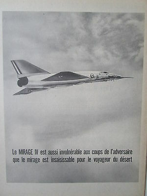1964-65 PUB AVIONS MARCEL DASSAULT MIRAGE IV FAS AN52 ARMEE DE L/'AIR ORIGINAL AD