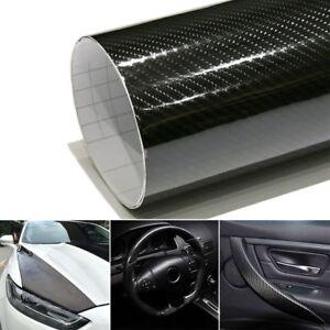 5D-Car-DIY-Sticker-Carbon-Fiber-Vinyl-24x60-034-Ultra-Shiny-Gloss-Glossy-Wrap-Black