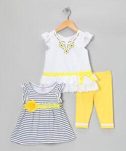 Yellow Stripe 2 Tops and Pants Set 3 Piece Set Girls Nannette -Size 6 NWT