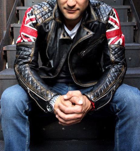 Men/'s biker matelassé vintage Marron détresse Union Jack CAFE RACER leather jacket