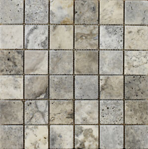Silver Grey Tumbled Travertine Wall Floor Mosaic Tile 48 X 48cm
