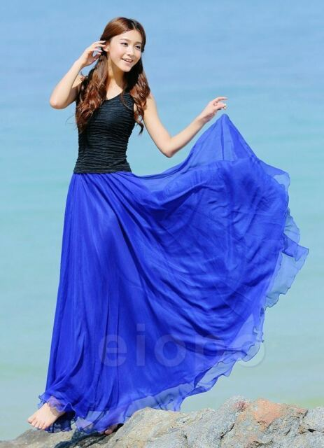 e115d9ad58 UK Women Beach Party Chiffon Pleated Long Maxi Skirt Dress Royal ...