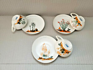 3 Vintage Arizona Blakely China Cactus China Tea Cup Saucer Sets