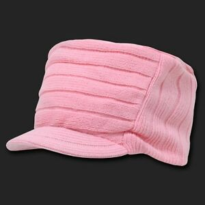 14a47b503ee Pink Plain Knit Flat Top Visor Cap Hat GI Military Army Cadet Jeep ...