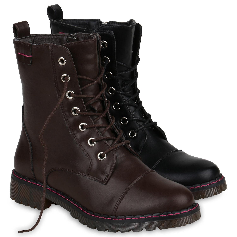 Bequeme Damen Stiefel Schnürstiefele<wbr/>tten Profilsohle Stiefeletten 818967 Schuhe