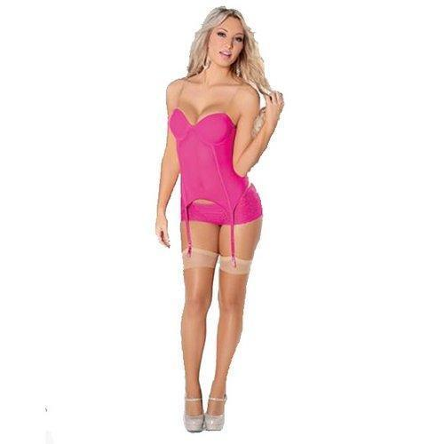 Large Escante Mesh and Lace Bustier Boy Shorts and Stockings Set