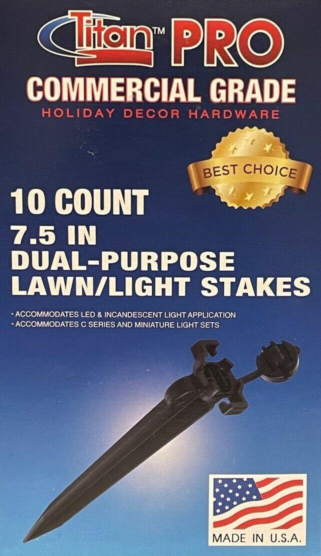 10 Titan Pro Heavy Duty 7 1/2-inch Dual Purpose Lawn Light Stakes--Lawn/Driveway