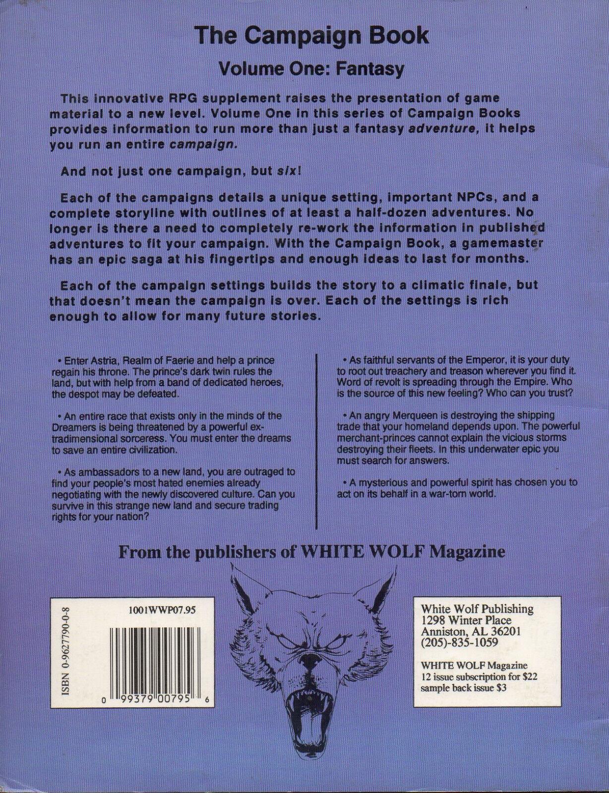 band ein fantasy fantasy ein  rollenspiel  kampagne buch weiße wolf sehr selten 600077
