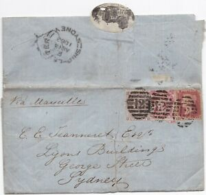 1863-LONDON-12-ON-3-COLOUR-FRANKING-SYDNEY-SHIP-LETTER-amp-PICTORIAL-WAFER-SEAL