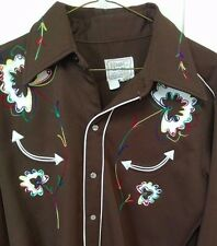 Vintage H Bar C Embroidered Western Shirt-1950's Brown-Sz Large L