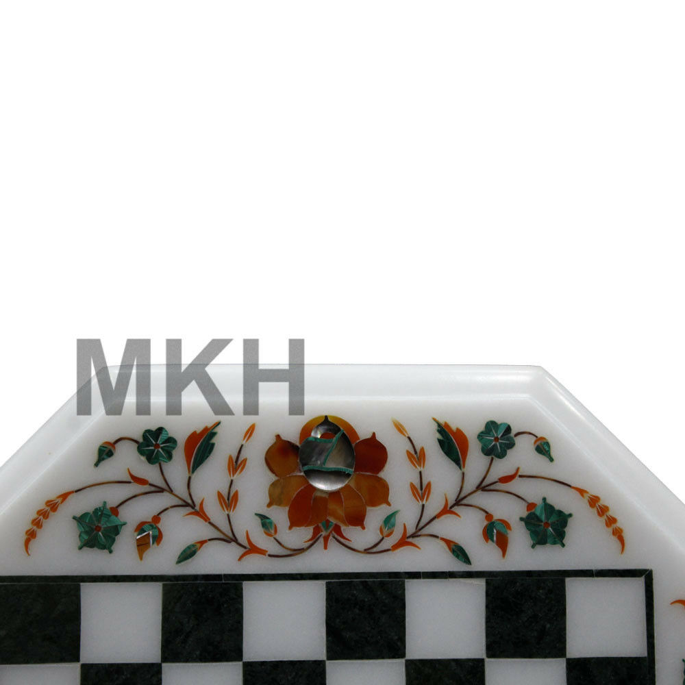 13 13 13  Marble Chess Board Inlay Stones Coffee Table Top Pietra Dura Vintage Mosaic fc4a94