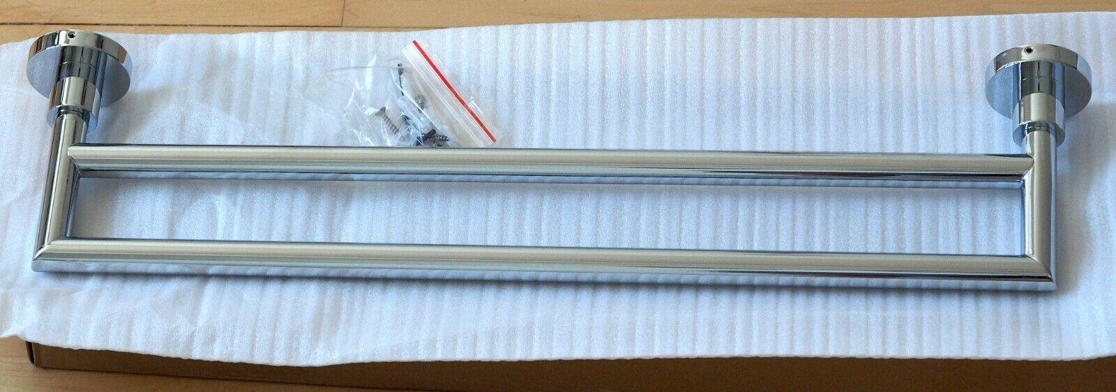 Blau Bathworks 18 inch dual towel bar, chrome, new   BA-TB-01 Y1T9902
