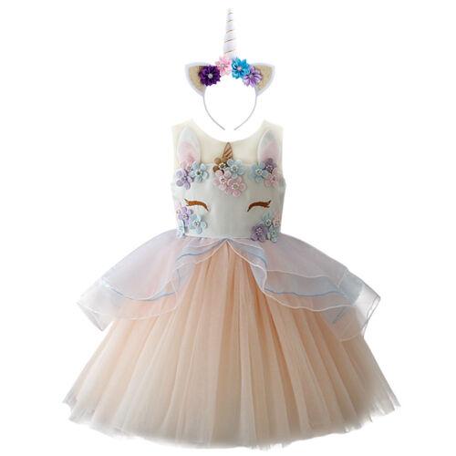 Licorne Fleur Fille Robe Bandeau Fête D/'anniversaire Mariage Chiffon tenues pour enfant