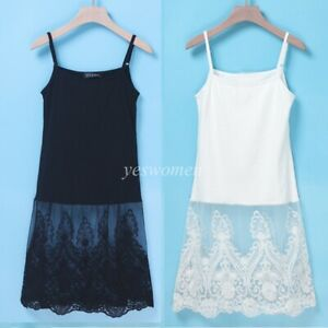 X Layering Lace trim Basic Long Floral Stretchy Casual Cami Tank Tee Shirt Top