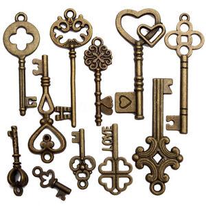 11Pcs Antique Vintage  Fancy Heart  Old Look Bronze Skeleton KeysBow Pendant