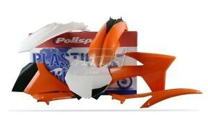 POLISPORT-KIT-PLASTICHE-COMPLETE-MX-CROSS-ARANCIONE-BIANCO-KTM-125-SX-2012-2012
