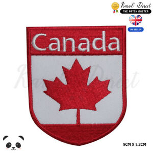 Canada-National-Flag-With-Name-on-TOP-Embroidered-Iron-On-Sew-On-Patch-Badge