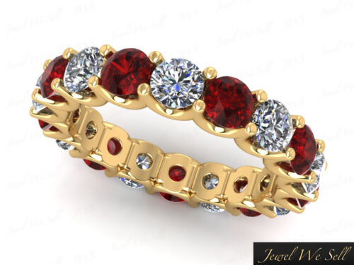 Natural 4.00Ct Round Ruby Diamond UProng Eternity Band Ring 14k Gold AAAA F VS2