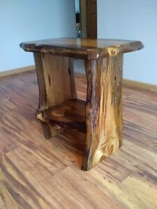 Rustic-end-table-night-stand-rustic-nightstand-end-table-live-edge-table