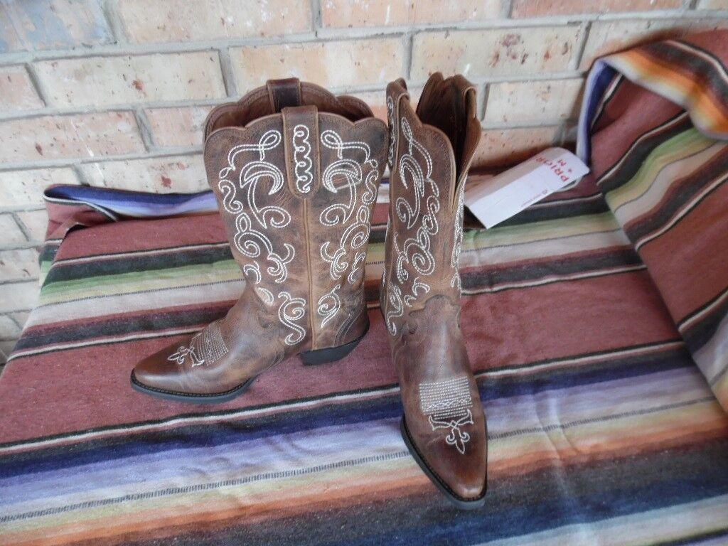 Women's Justin L2703 Tan Puma Western Cowboy Boots 7 1/2 C (h033)
