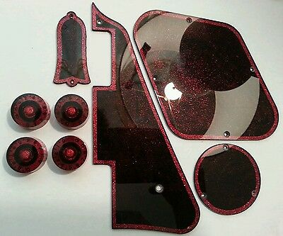 Pickguard,Back Plates,Truss Rod Cover, Knobs. Red/Black.Fits Gibson Les Paul JAT