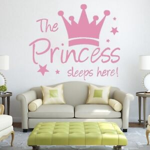 Details about Pink Princess Crown Wall Sticker Baby Nursery Decal Mural  Girl Rooms Decor
