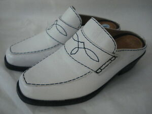 ARIAT-WHITE-LEATHER-DRESS-WESTERN-CLOG-SHOE-SZ-6M-MADE-IN-BRAZIL