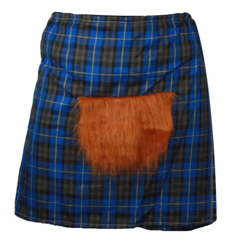 The Dragons Den Blue Hunting Scottish Tartan Kilt /& Sporran Fancy Dress