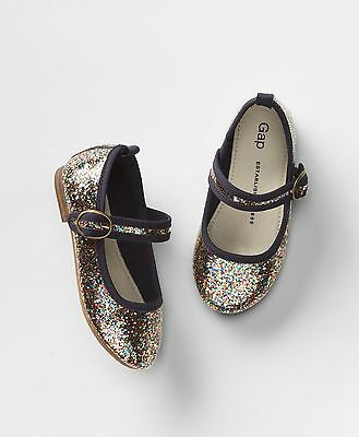 Gap Girls Navy Blue /& Rainbow Glitter Mary Jane Ballet Flat Shoes Size 7