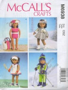 Pattern-Sew-McCalls-fits-Girl-18-034-inch-Doll-Clothes-Wardrobe-Sports-NEW
