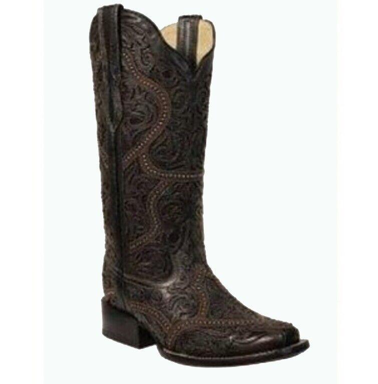 Corral Damen Voll Überzug Nieten Cowboy Western Stiefel Schwarz G1331