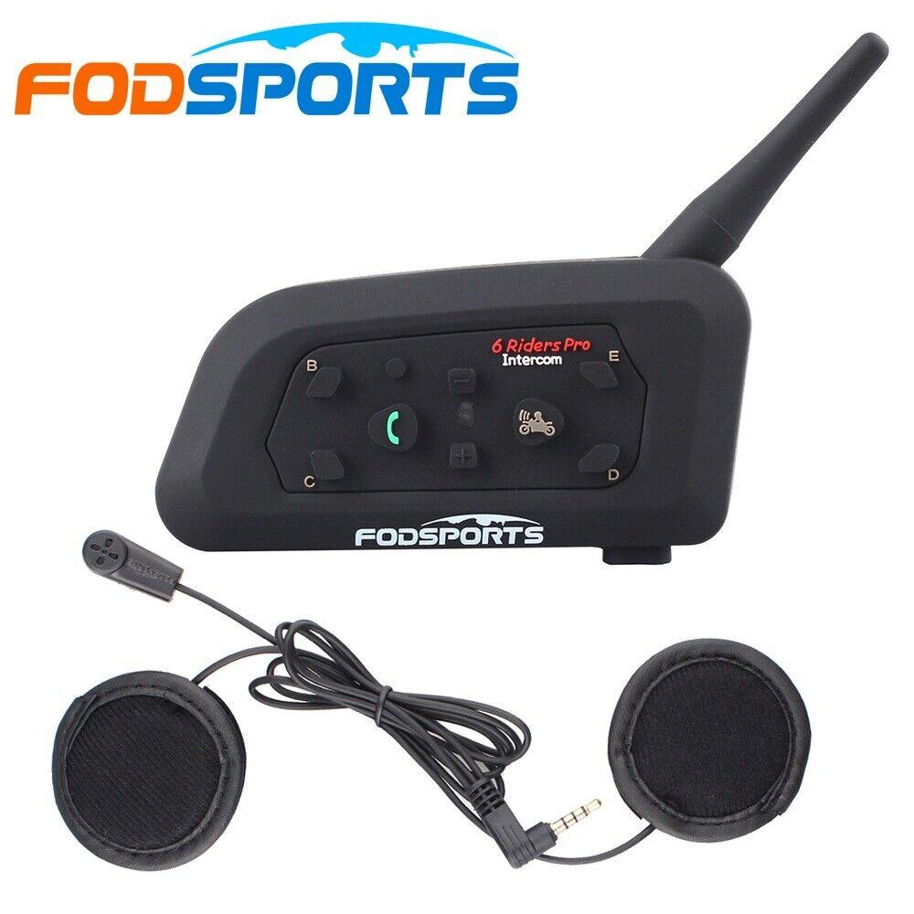 V6 Pro 1200m Motorcycle Intercom Bluetooth Helmet Headset 6 Rider Full duplex UK