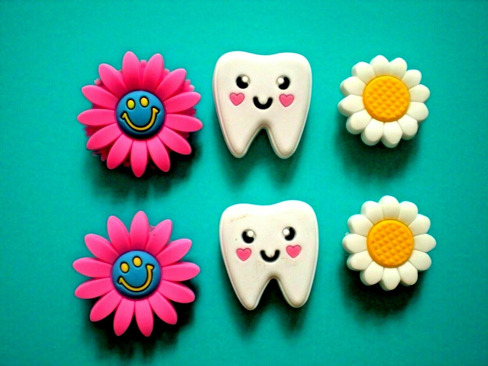 Shoe Charms Compatible W/ Crocs Shoes 6 Teeth Flower For Wristband Hole