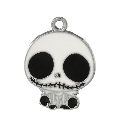 4 Enamel Jack Skellington Skull Face Pendant Charms Black White 30mm