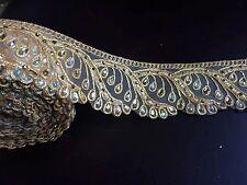 "1 meters gold diamante lace trim stones beads ribbon border net craft edge 3"""
